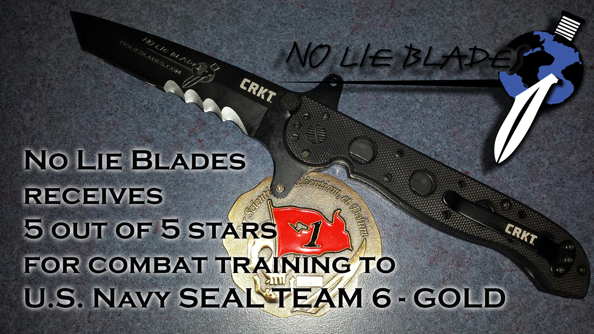 SEAL team 6 challenge coin with CRKT NLB knife w 5 out 5